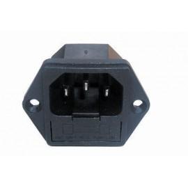 Embase Secteur Mâle IEC14 à visser, avec fusible 5x20