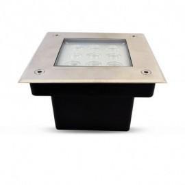 Spot LED Encastre Sol Carré Inox 9W