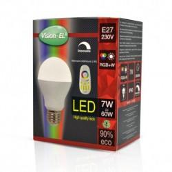Ampoule LED E27 Bulb 7W RGB + Blanc + Télécommande
