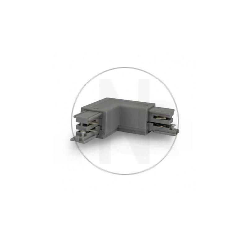 Connecteur Triphase Coude L Circuit Extérieur Gauche Gris