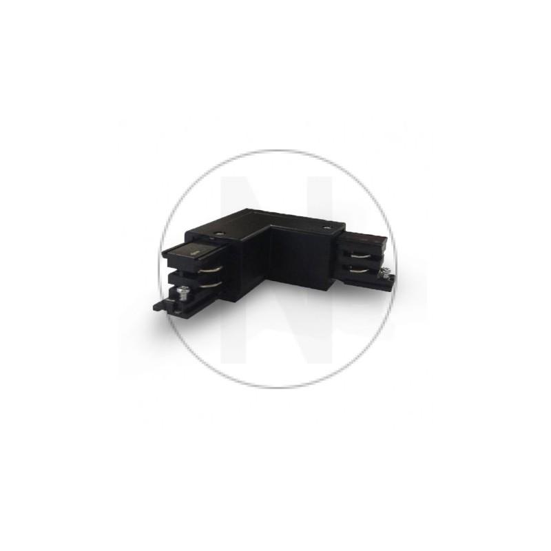 Connecteur Triphase Coude L Circuit Extérieur Gauche Noir