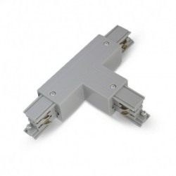 Connecteur Triphase Forme T Circuit Intérieur Droit Gris