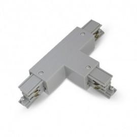 Connecteur Triphase Forme T Circuit Extérieur Gauche Gris