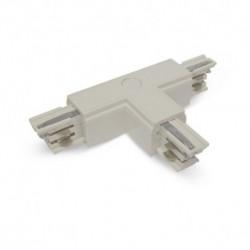 Connecteur Triphase Forme T Circuit Extérieur Droit Blanc