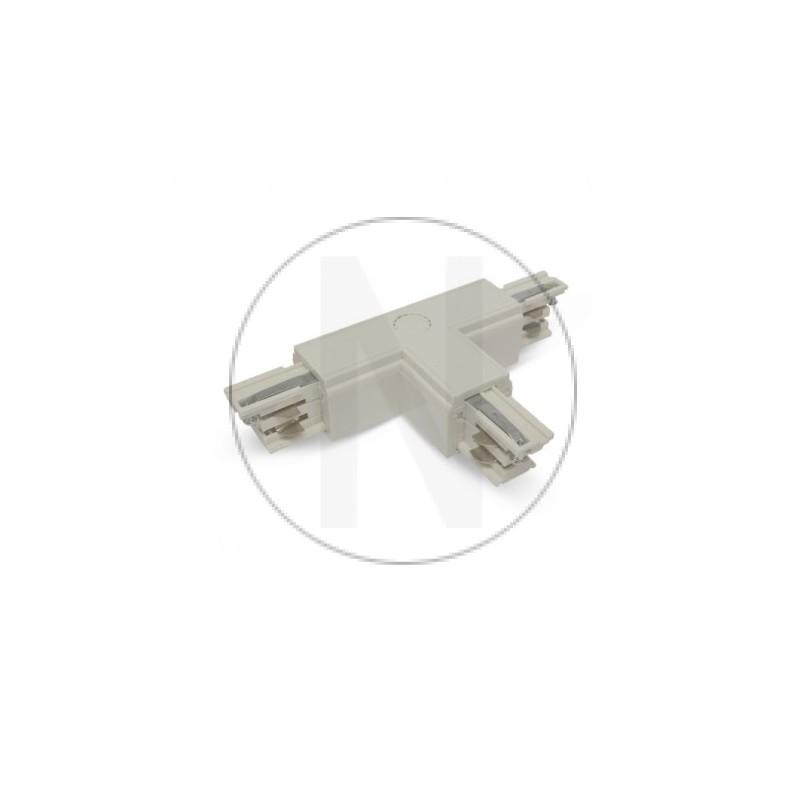 Connecteur Triphase Forme T Circuit Extérieur Gauche Blanc