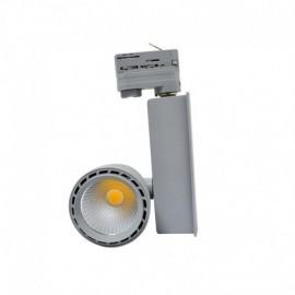 Spot LED sur Rail avec Adaptateur 3 allumages Gris 30W 3000°K