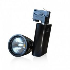 Spot LED sur Rail avec Adaptateur 3 allumages Noir 30W 4000°K