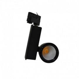 Spot LED sur Rail avec Adaptateur 3 allumages Noir 30W 3000°K
