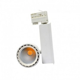 Spot LED sur Rail avec Adaptateur 3 allumages Blanc 40W 3000°K