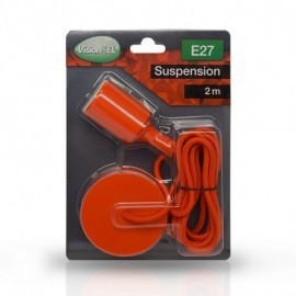 DOUILLE E27 SILICON + CABLE 2 M ROUGE
