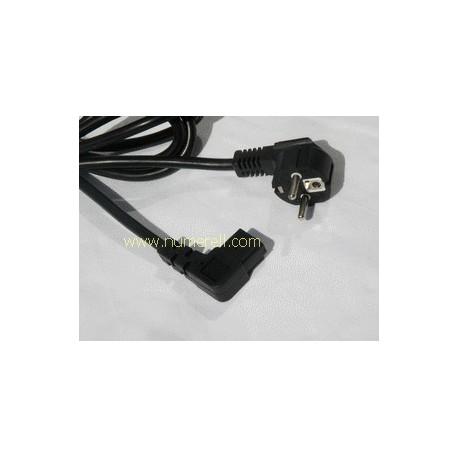 Cordon d'alimentation secteur avec connecteur - IEC13 Coudée - schuko - noir - 2m