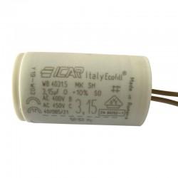 Condensateur moteur à fils 3.15 µF fond plat