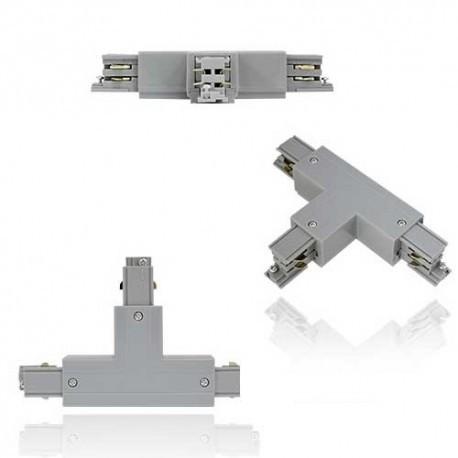 Connecteur triphasé forme T blanc gauche circuit exterieur  230V