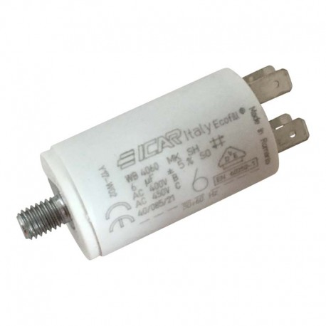 Condensateur permanent moteur à cosse 6 µF - 450 VAC - Icar Ecofil WB4060