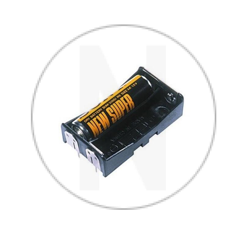 Support pour 2 piles AA avec pins à souder