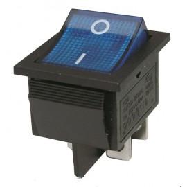 Interrupteur à bascule - rectangle - 2 positions - bleu