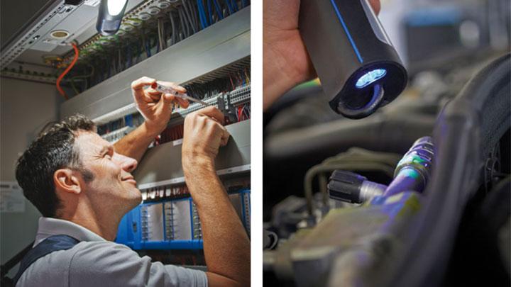 Un professionnel utilisant des lampes d'atelier LED de Philips